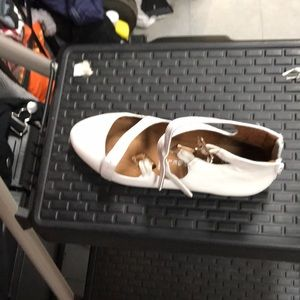 White flat buckle real leather